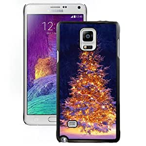 DIY and Fashionable Cell Phone Case Design with Lit Christmas Tree in Snow Galaxy Note 4 Wallpaper