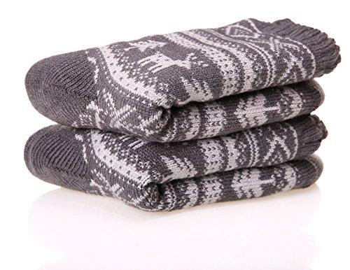 Dosoni Women's Super Warm Deer Fleece Lining Knit Christmas Knee Highs Stockings Slipper Socks (Grey)