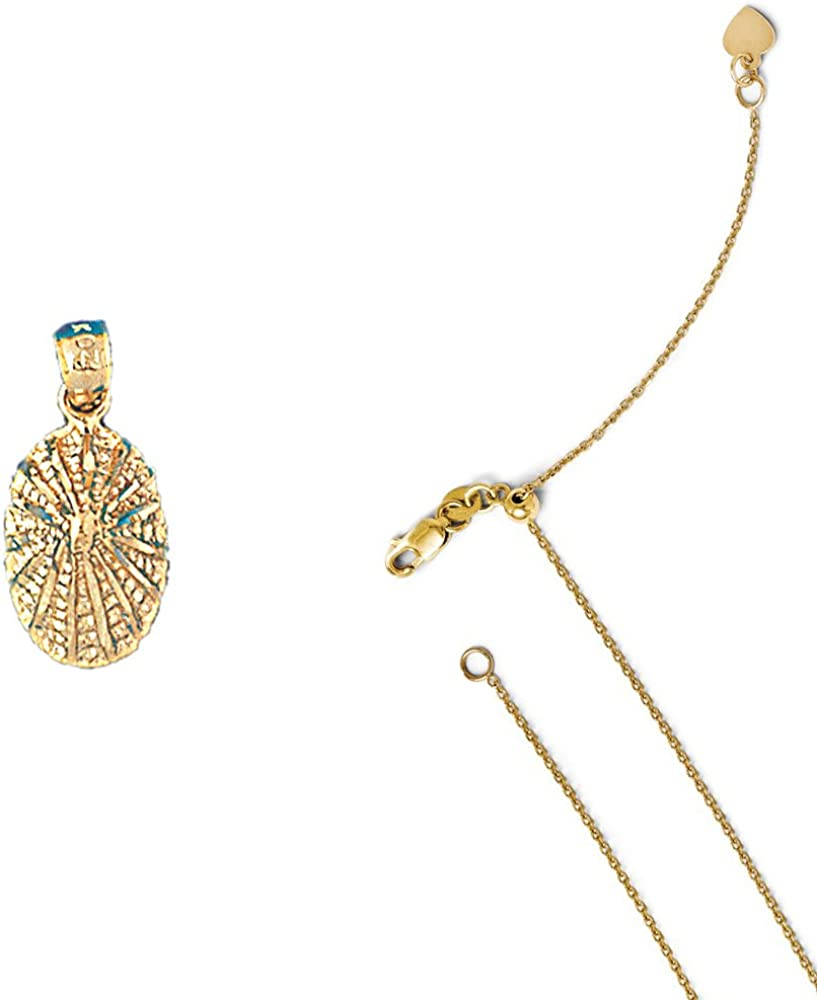 14K Yellow Gold Shell Pendant on an Adjustable 14K Yellow Gold Chain Necklace