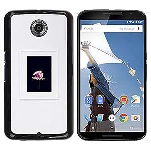 FlareStar Colour Printing Grey Petal Black Frame Pink Spring cáscara Funda Case Caso de plástico para Motorola NEXUS 6 / Moto X / Moto X Pro