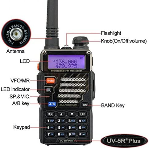 BaoFeng UV-5R UV5R Plus Dual-Band 136-174 400-480 MHz Ham Two-Way Radio 2pcs Black