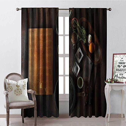 (Hengshu Cookware Chopp g Board Spices Knife Multicolor Window Curtain Fabric Drapes for Living Room W84 x)