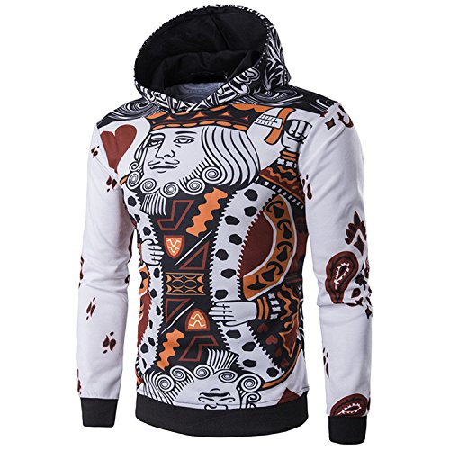 Arrival Card - Matterin Christiao New Arrival Men Hoodies 3D Aying Cards Print Poker King Sweatshirts Hip Hop Hooded Tracksuit White L