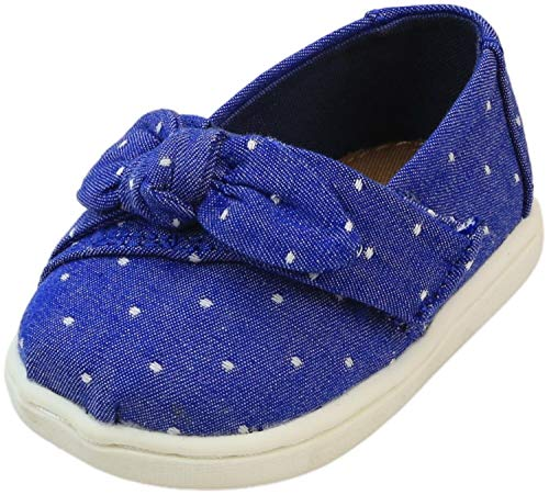 TOMS Kids Baby Girl's Alpargata (Infant/Toddler/Little Kid) Imperial Blue Dot Chambray/Bow 3 Infant M