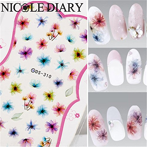 NICOLE DIARY Nail Art Water Decals Colorful Chinese Ink Painting Nail Manicure Transfer Stickers DS-310 (Korean Tattoo Sticker)