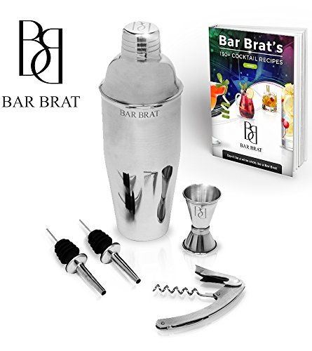 5-Piece-Deluxe-24-Oz-Cocktail-Shaker-Bar-Set-by-Bar-Brat--Bonus-130-Cocktail-Recipes-ebook-Jigger-2-Pour-Spouts-Waiters-Corkscrew-Mix-Any-Drink-To-Perfection