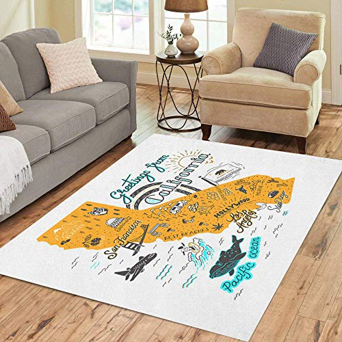 Pinbeam Area Rug Flag of California Map Tourist Attractions Travel San Home Decor Floor Rug 3' x 5' Carpet -