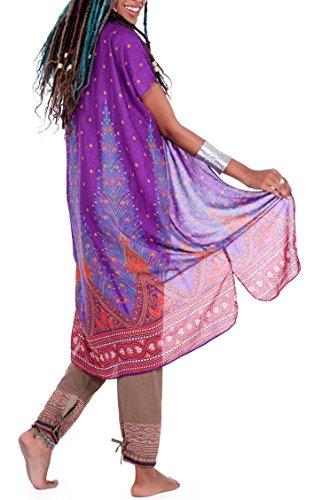 One Tribe Apparel Purple Womens Boho Kimono Cardigan  Tribal Gypsy Peacock Shawl amp Beach Cover up