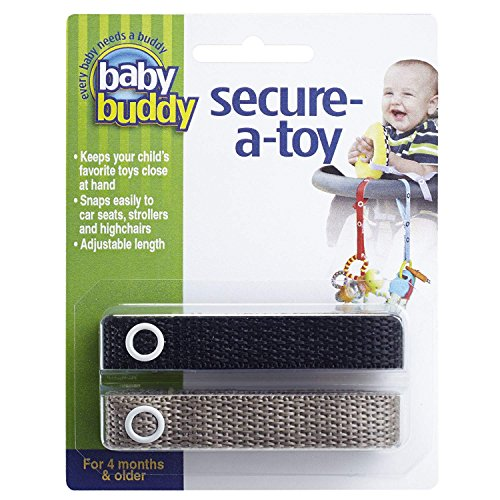 - Baby Buddy Secure-A-Toy, Safety Strap Secures Toys, Teether, or Pacifiers to Strollers, Highchairs, Car Seats-Adjustable Length to Keep Toys Sanitary Clean Black-Tan 2 Count