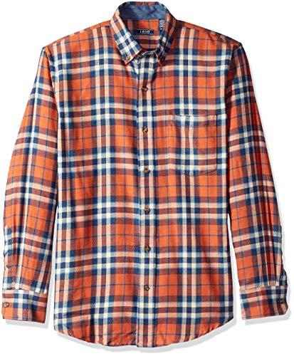 Flannel Apparel - IZOD Men's Stratton Long Sleeve Button Down Plaid Flannel Shirt, Orange Rust, Medium