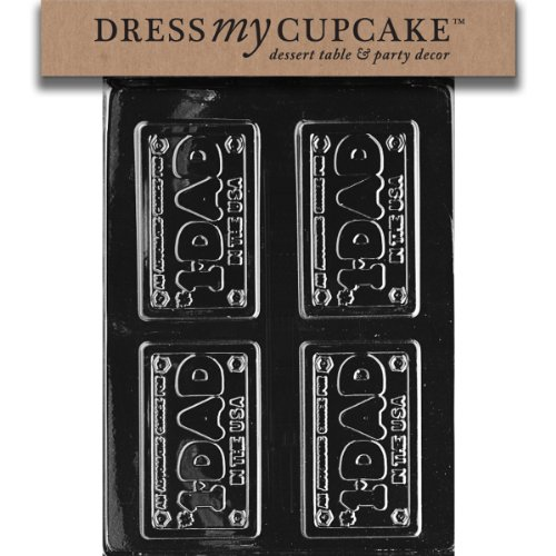 Dress My Cupcake DMCD041SET Chocolate Candy Mold, Dad License Plate, Set of 6