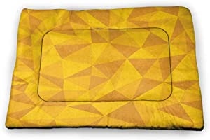 DayDayFun Yellow Dog Mat Tribal Zig Zag and Rhombus Pattern Vintage Stripe Style Geometric Design Personalized Pet Placemat Marigold White