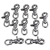 CNBTR Silver Multi-Purpose 304 Stainless Steel Swivel Snap Hook Lobster Clasps Prevent Tangles Set of 10