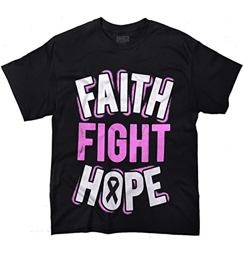 Breast Cancer Awareness T-Shirt - Faith Fight Hope Pink Ribbon 33L49-Black