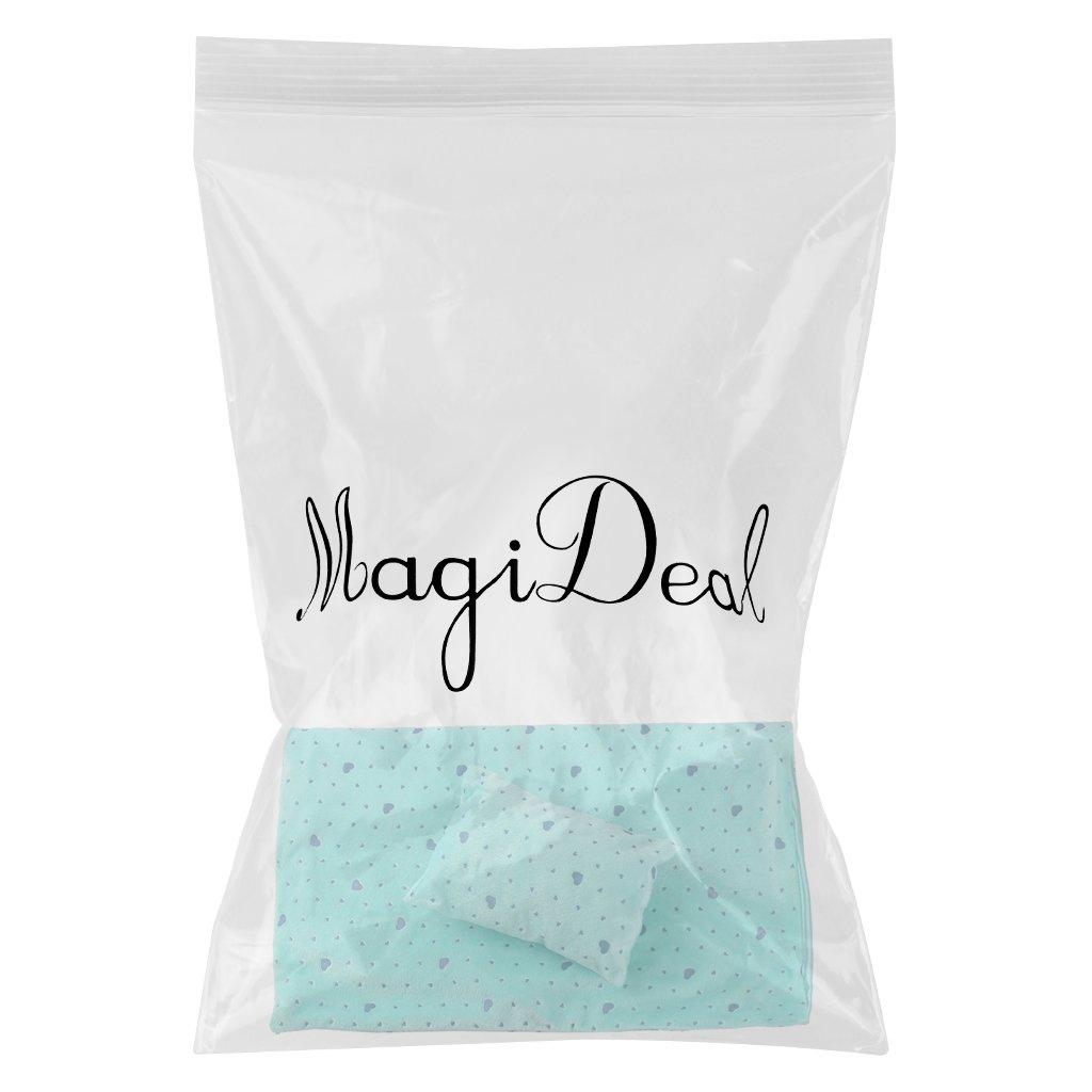 Bleu Vert MagiDeal Sac de Couchage de Poup/ée Ensemble dOreillers pour 18 inch Doll