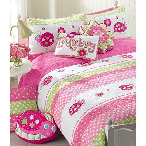 OSD 2pc Girls Pink Green White Ladybug Stripes Dot Quilt Twin Set, Fun Cute Lady Bug Flower Polkadot Striped Themed Pattern, Pretty Girly Horizontal Stripe Polka Dots Floral -