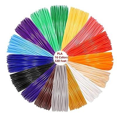 Aynsv 3D Pen PLA Filament Refills 1.75mm 20 Feet Each Color 3D Printing Filament in Multi Color (320 Feet)
