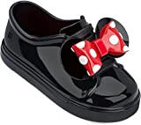 Mini Melissa Girls' Mini Be + Minnie Ballet Flat, Black Glossy, 10 M US Toddler