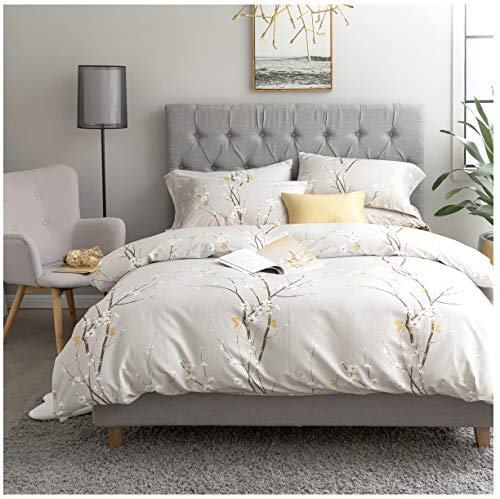 Japanese Oriental Style Cherry Red Blossom Floral branches Print Duvet Quilt Cover 300tc Cotton Bedding 3 piece Set (Queen, Light Taupe)