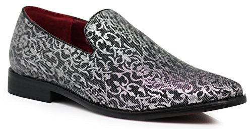 Designer Wear Shoes - Enzo Romeo ARK1 Men's Vintage Satin Silky Floral Fashion Dress Loafers Slip On Tuxedo Formal Dress Shoes Designer (10.5 D(M) US, Silver)