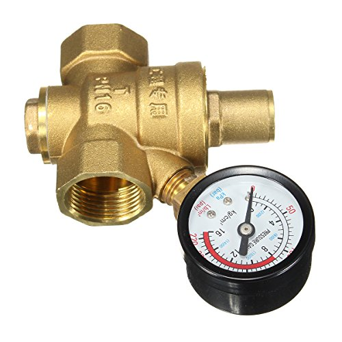DN20 NPT 3/4 Adjustable Brass Water Pressure Regulator Reducer with Gauge Meter