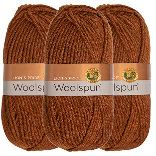 - Lion Brand (3 Pack) Woolspun Acrylic & Wool Soft Mahogany Brown Yarn for Knitting Crocheting Bulky #5