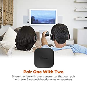 TaoTronics Bluetooth 4.1 Transmitter / Receiver, Wireless 3.5mm Audio Adapter (aptX Low Latency, Pair 2 At Once, For TV / Car Sound System, Volume Control)