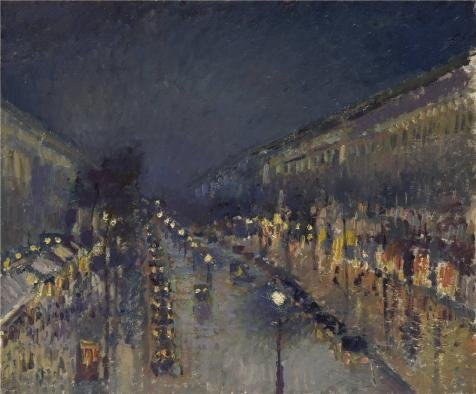 Perfect Effect Canvas ,the High Definition Art Decorative Canvas Prints Of Oil Painting 'Camille Pissarro - The Boulevard Montmartre At Night,1897', 20x24 Inch / 51x61 Cm Is Best For Living Room Decor And Home Decor And Gifts