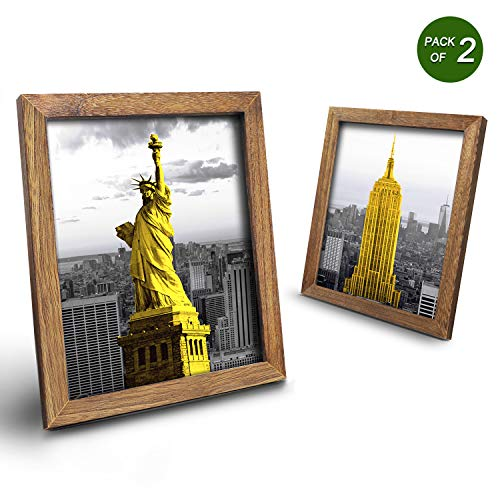 Emfogo 8x10 Picture Frames Display 4x6 Photo with Mat or 8x10 Without Mat Made of Solid Wood for Table Top Display and Wall Mounting Pack of 2 ()