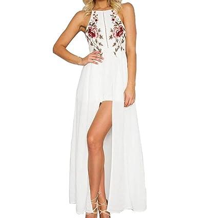 ac0dd21a628 Amazon.com  Sunbona Women s Sexy Floral Printed Sleeveless Halter Neck Tank  Crop Blouse Short Pants Jumpsuit Rompers Maxi Long Boho Dress (Asian  Size S
