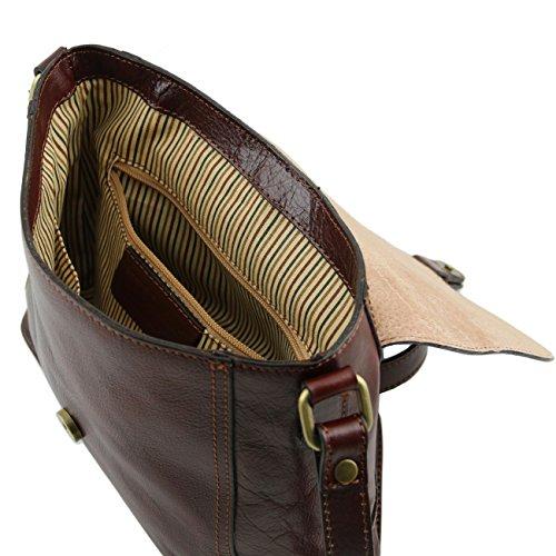 Tuscany Leather Jody Tracollina in pelle con pattella Testa di Moro Miele