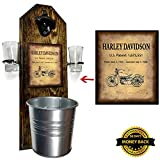 Deluxe Harley Davidson Patent Shot Glass Holder with 2 Shot Glasses, Bottle Opener and Cap Catcher – Handcrafted by a Vet – Solid Pine, Rustic Cast Iron Bottle Opener and Mini Galvanized Bucket Review