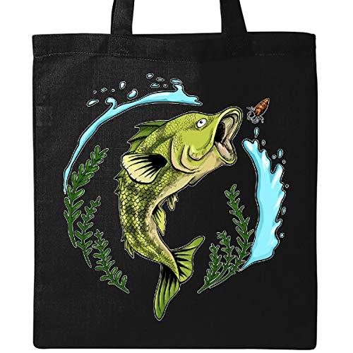 (Inktastic - Leaping Bass Fish- fishing Tote Bag Black)