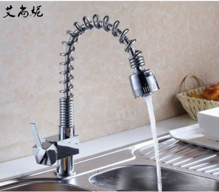 Lalaky Taps Faucet Kitchen Mixer Sink Waterfall Bathroom Mixer Basin Mixer Tap for Kitchen Bathroom and Washroom Copper Small Square Spring Plating
