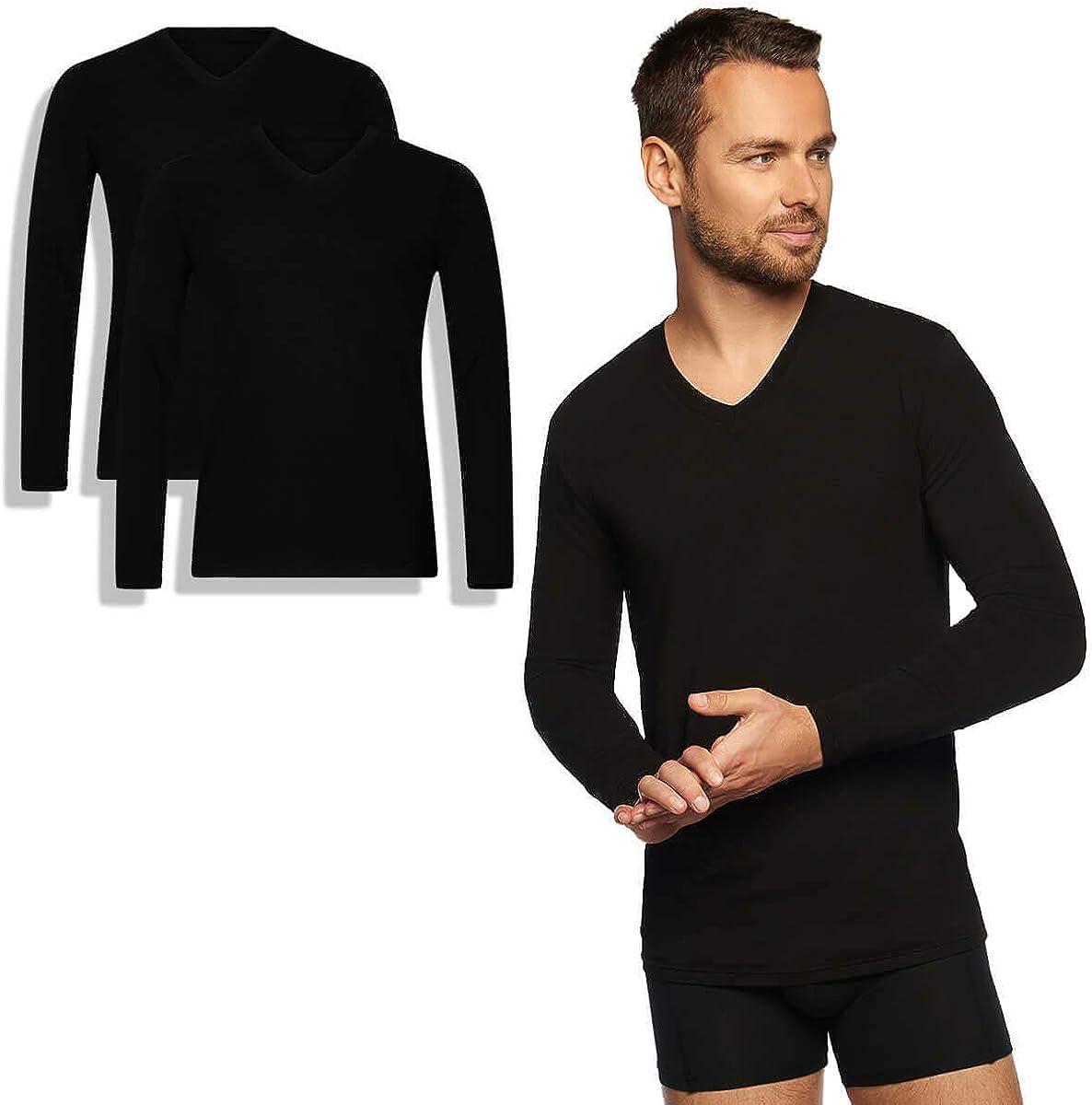 V-Ausschnitt Bamboo Basics Thermo-Komfort S-XXL 2er-Pack Herren Bambus Langarmshirt Extra Lange