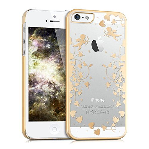 kwmobile Elegant and light weight Crystal Case Design Cupide for > Apple iPhone SE / 5 / 5S < in gold transparent