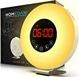 Sunrise Alarm Clock - Programmable Wake Up Nature Sounds - FM Radio Audio - Digital LED Light Touch Control - 7 Colors Bedside Night Lamp - Snooze Button for Deep Sleepers - Dual USB Charger & Battery