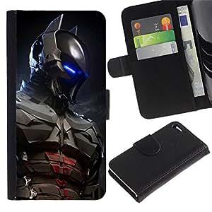 EJOY---Tirón de la caja Cartera de cuero con ranuras para tarjetas / Apple Iphone 4 / 4S / --Futuro Bat Superhero