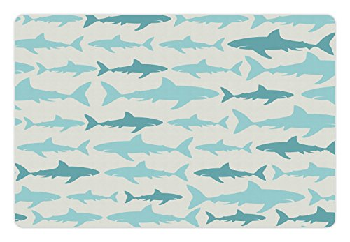 Ambesonne Sea Animals Pet Mat for Food and Water, Monochrome Shark Illustration Fashion Maritime Illustration Aquatics, Rectangle Non-Slip Rubber Mat for Dogs and Cats, Teal Turquoise Beige by Ambesonne (Image #2)