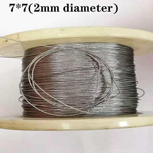 Without brand 50M 2mm Durchmesser 304 Edelstahl-Drahtseil-Kabel Weichere Angeln Hubseil 7X7 Struktur 2mm Durchmesser (Größe : 2mm 50M)