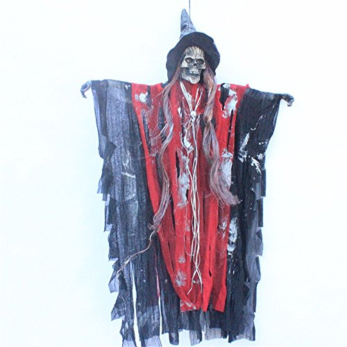 [Halloween Decorations Props Haunted House Supplies The Bar Dressed Up Glowing Hat Witches Hang Hanging Ghost Voice Ghosts,Red Devils] (Devil Costums)