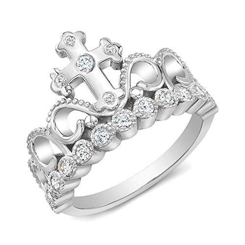 Guliette Verona Rhodium-plated Sterling Silver CZ Cross Crown Ring (6)