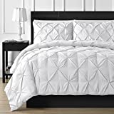 Is Cal King Bigger Than King Roch Linen Soft Luxurious 3-Piece Pinch Pleated Pintuck Duvet Cover Set Highest Quality 100% Egyptian Cotton 600 TC Stain Resistant Luxurious & Hypoallergenic Comforter Cover !!! (White!!King)