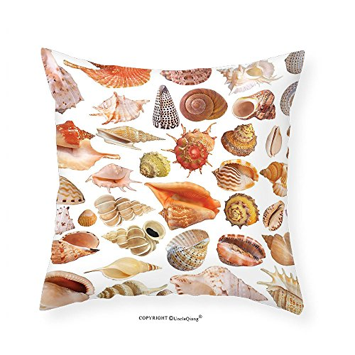 VROSELV Custom Cotton Linen Pillowcase Seashells Decor Collection Seashell Nautilus Shells Nature Natural Texture And Wild Life Beach Seashells Under The Sea Bedroom Living Room Dorm (Natural Shells Needlepoint)