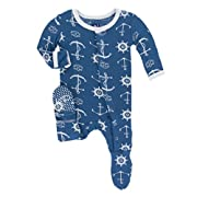 KicKee Pants Little Boys Print Footie with Snaps - Twilight Anchor, 6-9 Months