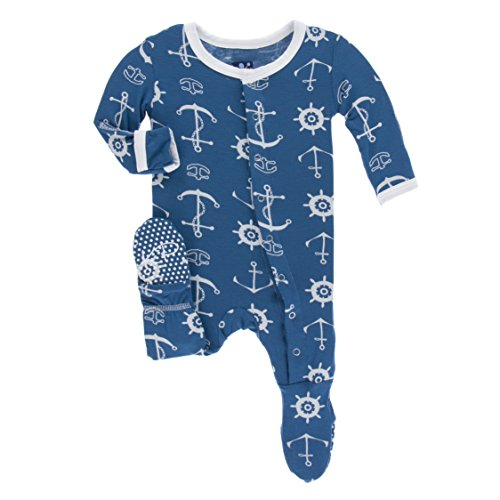 KicKee Pants Little Boys Print Footie with Snaps - Twilight Anchor, 18-24 Months