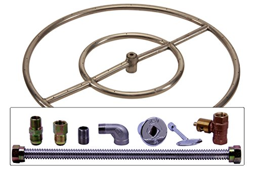 Spotix HPC Match Lit Fire Pit Burner Kit, Round, 24-Inch High Capacity Burner, Natural Gas, Polished Chrome by Spotix