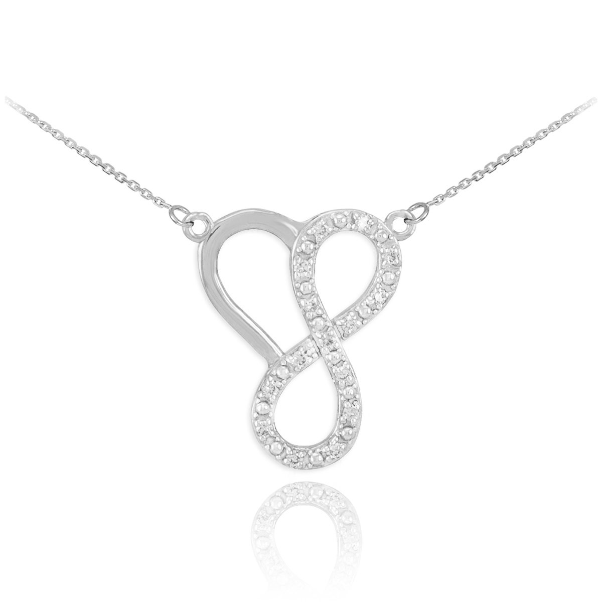 Double-Mounted 925 Sterling Silver CZ Heart Infinity Necklace
