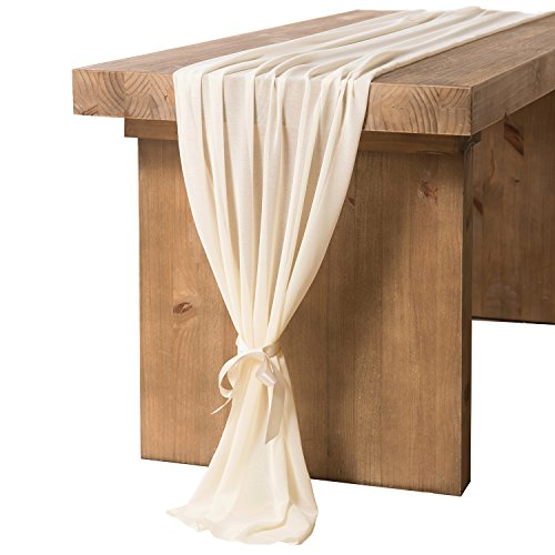ling's moment Ivory Chiffon Table Runner 27.5 x 120 Inches for Rustic Romantic Bohemian Wedding Table Décor Bridal Shower Baby Shower Party Table - Chiffon Romantic