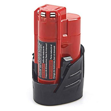bater/ía de iones de litio Exmate 12V 2.5Ah Bater/ía para Milwaukee M12 48-11-2410 48-11-2420 48-11-2411 48-11-2401 48-11-2402 48-11-2401 Herramientas inal/ámbricas